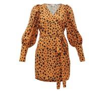 Frankie Leopard-print Polka-dot Satin Wrap Dress