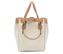 Medium Leather-trimmed Linen Tote Bag
