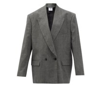 Oversized Double-breasted Wool-blend Suit Jacket