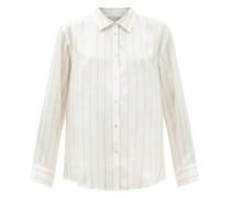 London Striped Sandwashed-silk Pyjama Shirt