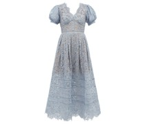 Puffed-sleeve Guipure-lace Dress