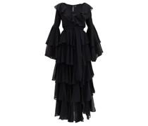 Side-slit Ruffled Chiffon Dress