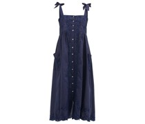 Floral-embroidered Shoulder-ties Cotton Midi Dress