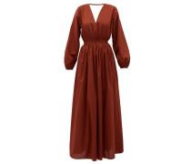 Backless Balloon-sleeved Cotton-poplin Maxi Dress