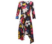 Handkerchief-hem Floral-print Satin Dress
