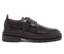 Alix Buckled Leather Derby Shoes
