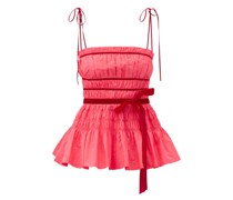 Cressie Velour-ribbon And Shirred-taffeta Top