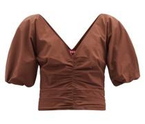 Fiona V-neck Ruched Cotton-blend Poplin Top