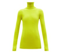 Logo-tab Roll-neck Wool-blend Sweater
