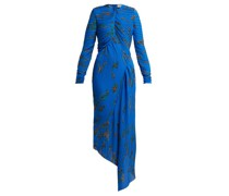 Floral-print Pleated Georgette Midi Dress