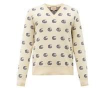 V-neck Gg-jacquard Cotton Sweater