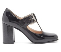 Square-toe Patent-leather Mary Jane Pumps