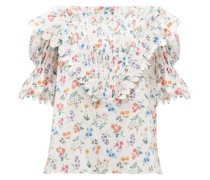 Charlotte Floral-print Cotton-poplin Blouse