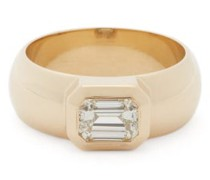 Diamond & 14kt Gold Wide-band Ring
