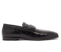 Alligator-effect Leather Loafers