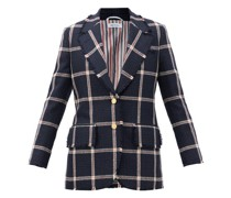 Single-breasted Fringed Check Wool-tweed Jacket