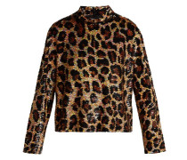 Leopard-print Sequined Top