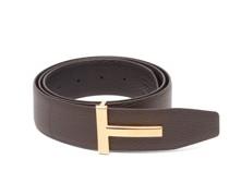T-logo Reversible Grained-leather Belt