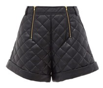 High-rise Quilted Faux-leather Shorts