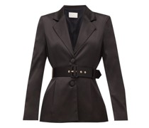 Belted Single-breasted Satin Jacket