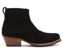 Cuban Textured-suede Heeled Ankle Boots