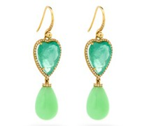 Heart Diamond, Emerald, Opal & 18kt Gold Earrings