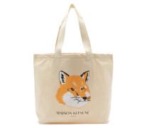 Fox-head Logo-print Canvas Tote Bag