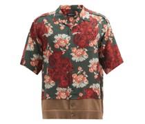 Floral-print Contrast-hem Short-sleeved Shirt