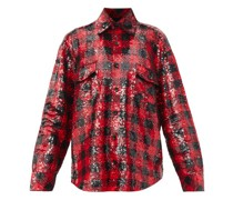 Oversized Plaid Sequinned Shirt