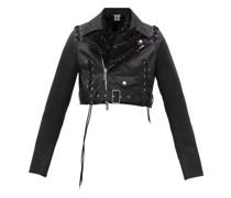 Cropped Frilled Duchess Biker Jacket