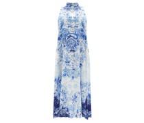 Halterneck High Tea-print Silk Dress