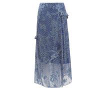 Maya Printed Satin-devoré Midi Skirt
