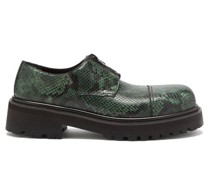Chunky-sole Python-effect Leather Derby Shoes
