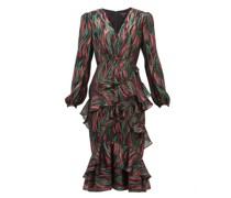 Alya Ruffled Metallic-jacquard Dress