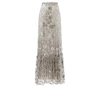 Viviane Floral-embroidered Mesh-overlay Maxi Skirt
