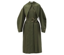 Exaggerated-collar Belted Cotton Trench Coat