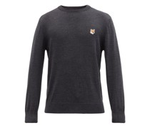 Fox Head-appliqué Wool Sweater