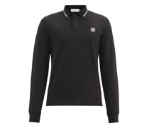 Logo-patch Cotton-blend Long-sleeve Polo Shirt