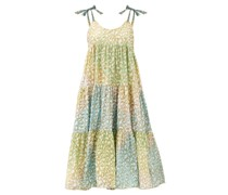 Tie-dye Tiered Leopard-print Cotton Dress