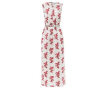 Elasticated Cut-out Floral-print Cotton Dress