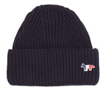 Tricolour Fox-patch Ribbed-wool Beanie Hat