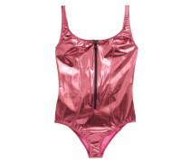 Jasmine Zip-front Metallic Pvc Swimsuit