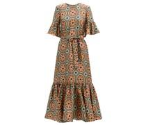 Curly Swing Abstract-print Silk Midi Dress
