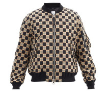 Brookland Chequer-print Cotton Bomber Jacket