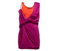 Draped Hybrid Satin-jersey Mini Dress