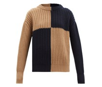 Block-colour Ribbed Wool Sweater