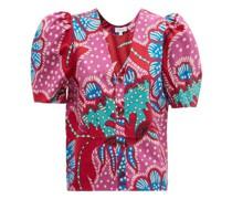 Nisha Puff-sleeve Floral Cotton-poplin Blouse