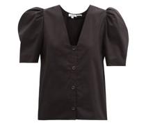 Nisha Puff-sleeve Cotton-poplin Blouse