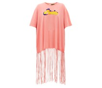 Bead-embroidered Logo Fringed T-shirt