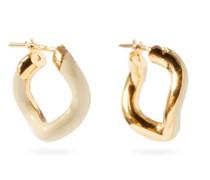 Wave Enamel & 18kt Gold-vermeil Hoop Earrings